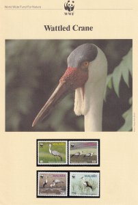 Wattled Cranes Malawi Birds WWF Stamps and Set Of 4 First Day Cover Bundle