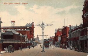 South Africa Durban West Street tramway postcard