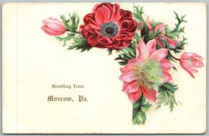 MOSCOW PA GREETINGS 1907 ANTIQUE POSTCARD