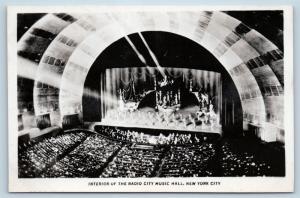 Postcard NY New York City Interior Radio City Music Hall Rockettes RPPC I19