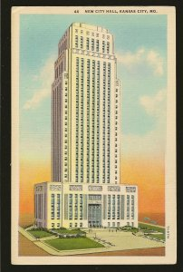 USA New City Hall Kansas City Missouri Linen Postcard