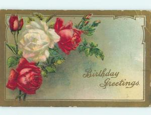 Divided-Back birthday BEAUTIFUL WHITE AND RED ROSE FLOWERS o9193