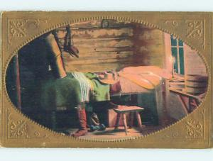Pre-Linen western OLD WEST SCENE - COWBOY HAT ON BED AND BOOTS ON FLOOR HJ4554