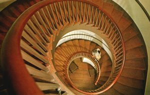 Vintage Postcard Trustees Office Twin Spiral Stairways Pleasant Hill Kentucky