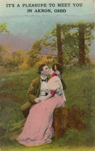 AKRON , Ohio , PU-1913 ; A Pleasure to Meet You, Couple kissing