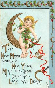 New Year Baby Angel Holly Fantasy Moon Hourglass Luck Antique Postcard K20528