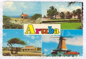 Aruba , 4-view postcard , 50-70s