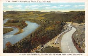 TOWANDA-WYALUSING PA~ASCENDING RUMMERFIELD MOUNTAIN-ROOSEVELT HWY POSTCARD 1930s
