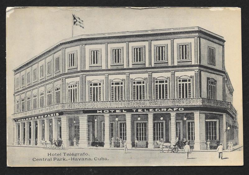 Hotel Telegrafo Central Park Havana Cuba Unused c1910s