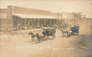 Run For The Rock Island Depot From M.K.T Railroad Depot RARE Real Photo Postcard