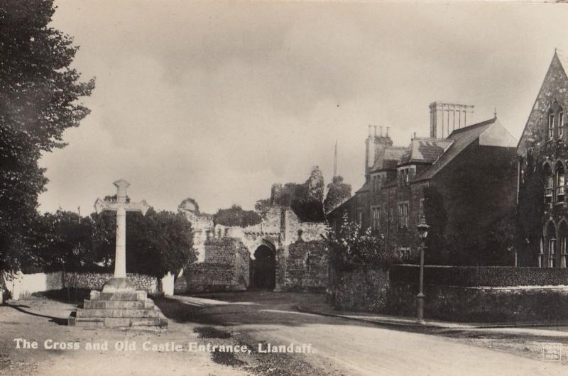 Llandaff Cross & Castle Entrance Old Real Photo Postcard