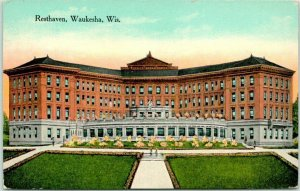 Waukesha, Wisconsin Postcard RESTHAVEN HOTEL Building View / 1915 WI Cancel