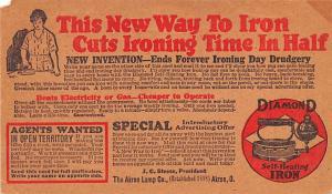 Diamond Self Heating Iron Advertising Unused small paper missing left top corner