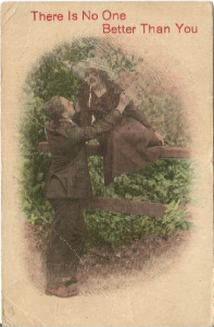Love's Devotion is Depicted in this beautiful Garden Scene with Young Couple