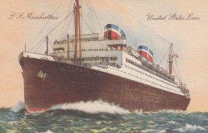 United States Line Ocean Liner S.S. Manhattan , 30-40s