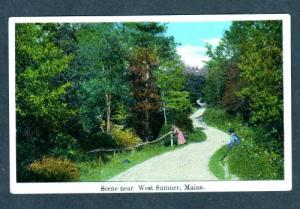 ME Road Scene Woman WEST SUMNER MAINE Postcard Old PC
