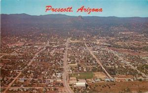 Birdseye 1960s Prescott Arizona Gurley Thumb Butte Petley postcard 10255
