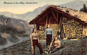 Switzerland Old Vintage Antique Post Card Peasants of the Alps Unused