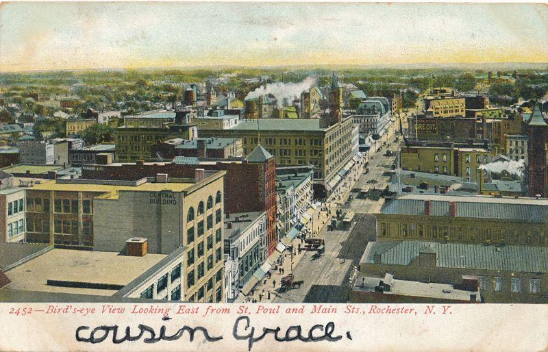 Looking East from St Paul & Main Rochester New York Sibley's in Center pm 1906