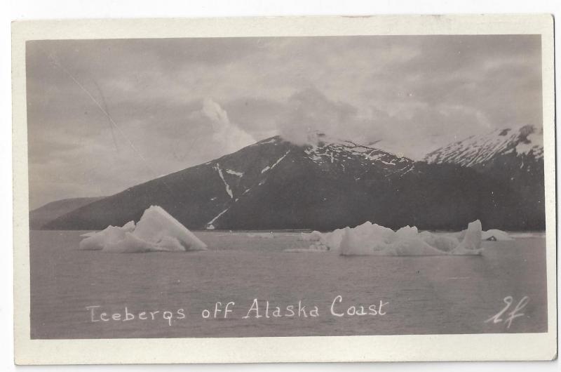 RPPC Alaska Icebergs Off Coast Real Photo Post Card ca 1915