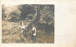 Two Ladies Playing Peek-A-Boo At A Tree~Real Photo Postcard c1913