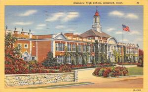 Stamford Connecticut~Stamford High School~1950 Postcard