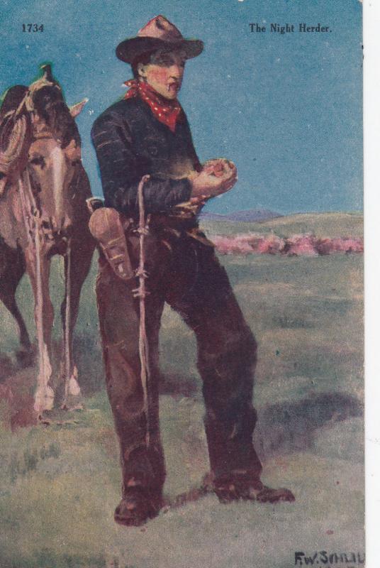 Artist F.W. SCHULTZ ; The Night Herder , 1900-10s
