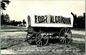 St. Ignace, Michigan RPPC Real Photo Postcard Covered Wagon at FORT ALGONQUIN