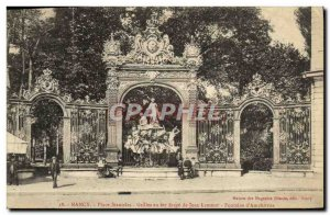 Old Postcard Nancy Fontaine Stanislas Jean Lamour wrought iron grille Fountai...