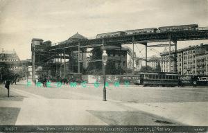 1908 New York City PC: L Station Curve, Cowperthwait Ad