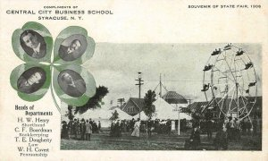 CENTRAL CITY BUSINESS SCHOOL Syracuse, NY Ferris Wheel 1906 State Fair Postcard