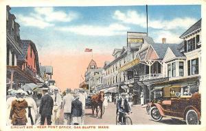 Oak Bluffs MA Circuit Ave. Near Post Office Old Car Horse & Wagon Postcard