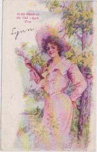 FREYSCHLAG: In the Shade of the Old Apple Tree Woman in Pink Dress & Straw ...