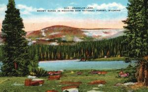 Snowy Range, Medicine Bow Forest, WY, Brooklyn Lake, Vintage Postcard f5336