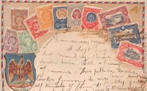 MEXICO STAMPS~COAT OF ARMS~HENRY S BEACH CIUDAD JUAREZ PUBLISHED POSTCARD 1907
