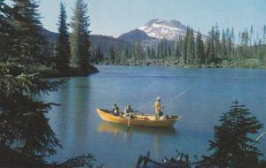 Fishing from Rowboat on Sparks Lake near Bend OR, Oregon