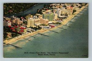 Miami FL-Florida, Ocean Front Hotels on Miami Beach,Pools,Bayway, Linen Postcard