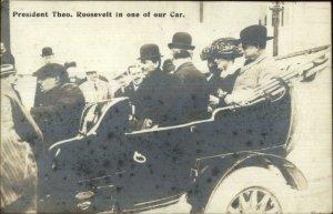 Auto Car Advertising Landaulette Limousine President Roosevelt Naples RPPC
