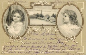 Novelty 1906 embossed fantasy greetings postcard landscape little girl in frame