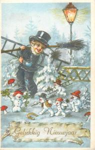 new year fantasy dwarf snowmens luck chimney sweep mushrooms horseshoe lamp