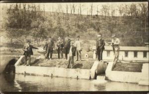 Men w/ Cameras Around Dam or Fish Hatchery? c1910 Real Photo Postcard