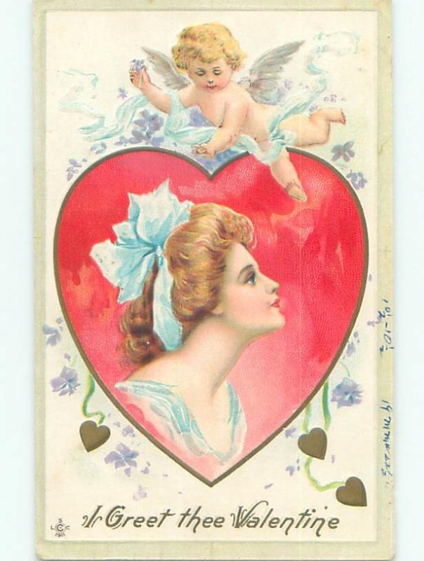 Pre-Linen valentine CUPID OVER FACE OF PRETTY GIRL ON HEART W7249