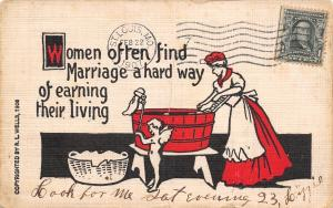 Marriage Comic~Hard Way of Earning a Living~Cupid Helps Woman With Laundry~Wells