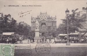 Belgium Brussels Bruxelles Monument Statue Et Place Anneessens 1910