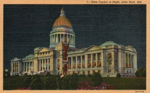 Little Rock, Arkansas, AR, State Capitol at Night, 1939 Vintage Postcard g4118
