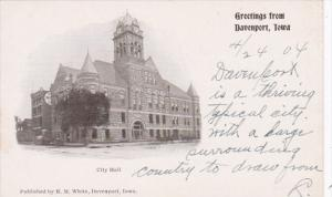 Iowa Greetings From Davenport Showing City Hall Private Mailing Card