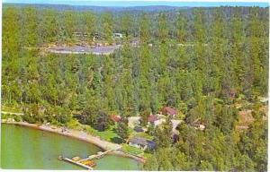 Air view, Prosperpine Cottages on Lake Nipissing, Callander, Ontario, Canada