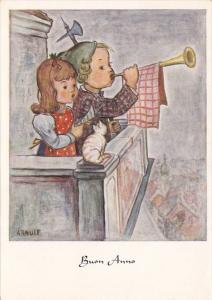 AS: Buon Anno, Boy blowing horn with girl and cat on balcony over the city, A...