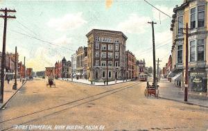 Macon GA Commercial and Savings Bank Drug Store Trolley Postcard
