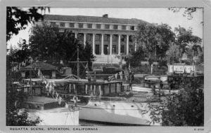 Stockton California~Pleasure Boat Regatta ~Silver Border Postcard 1940s